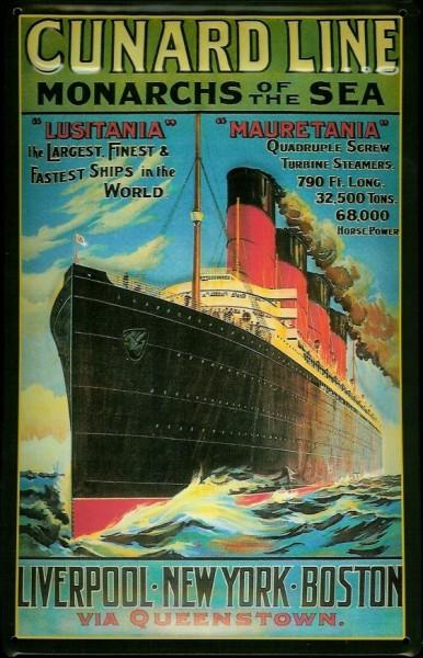 Blechschild Cunard Line Monarchs of the Sea Lusitania Mauretania Schiff Schild Nostalgieschild