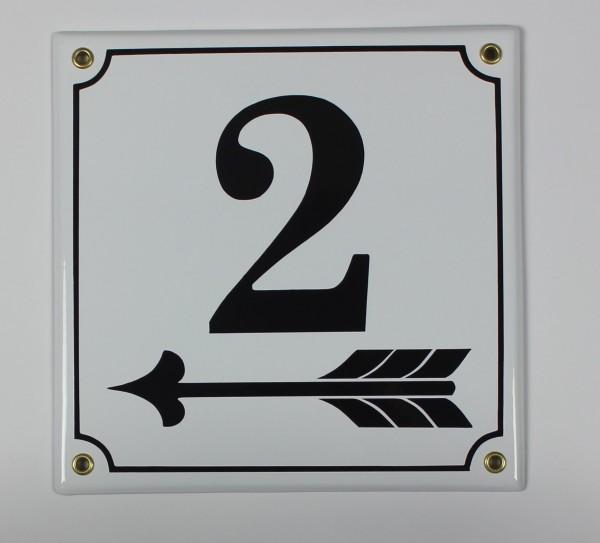 2 Pfeil links 20x20 cm sofort lieferbar Schild Emaille Hausnummer