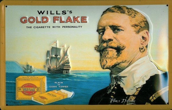 Blechschild Nostalgieschild Will's Gold Flake Zigaretten Schiff Cigarette