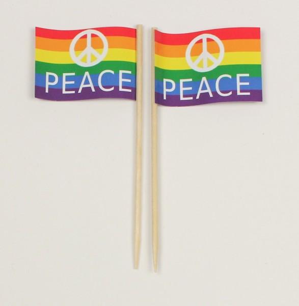 Party-Picker Flagge Peace Regenbogen Papierfähnchen in Spitzenqualität 50 Stück Beutel