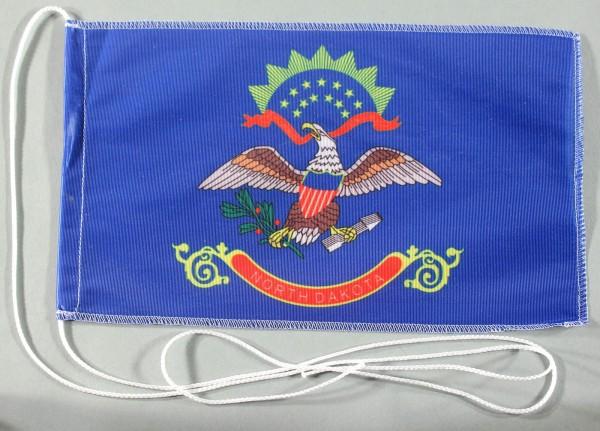 Tischflagge North Dakota USA Bundesstaat US State 25x15 cm optional mit Holz- oder Chromständer Tisc