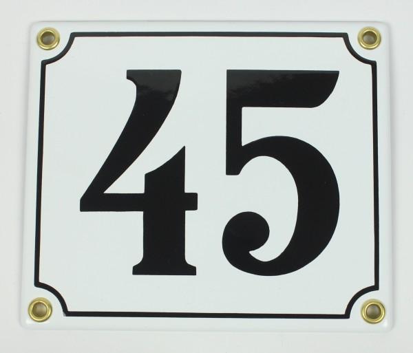 Hausnummernschild 45 Sonderanfertigung weiß / schwarz Clarendon