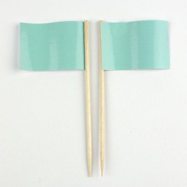 Party-Picker Flagge Uni Mintgrün Papierfähnchen in Spitzenqualität 50 Stück Beutel