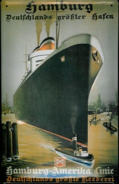 Blechschild Hamburg Deutschlands größter Hafen Dampfer Schiff Schild Nostalgieschild