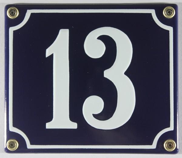 Hausnummernschild Emaille 13 blau - weiß 12x14 cm sofort lieferbar Schild Emaile Hausnummer Haus Num