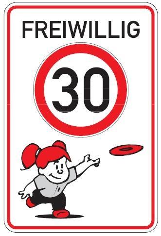Aluminium Parkplatzschild freiwillig Tempo 30 Kinder glatte Oberfläche 750x500 mm 2 mm Alublech