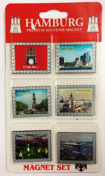 Magnet Set Premium Hamburg 6-teilig Metalloberfläche Magnete Souvenirs Andenken Deko