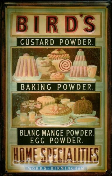Blechschild Bird´s Home Specialities Baking Custard Powder Backpulver Vanillepulver Schild retro