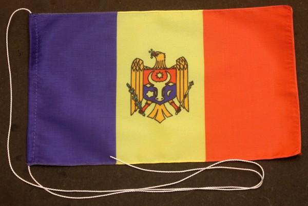 Tischflagge Moldawien 25x15 cm optional mit Holz- oder Chromständer Tischfahne Tischfähnchen
