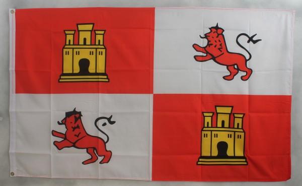 Flagge Fahne : Spanien mit Burg Wappen Spanienflagge