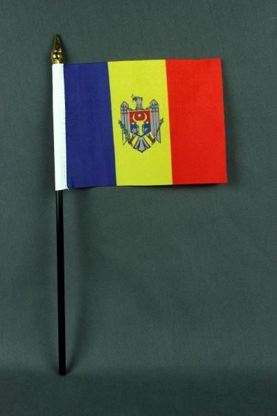 Kleine Tischflagge Moldawien 10x15 cm optional mit Tischfähnchenständer