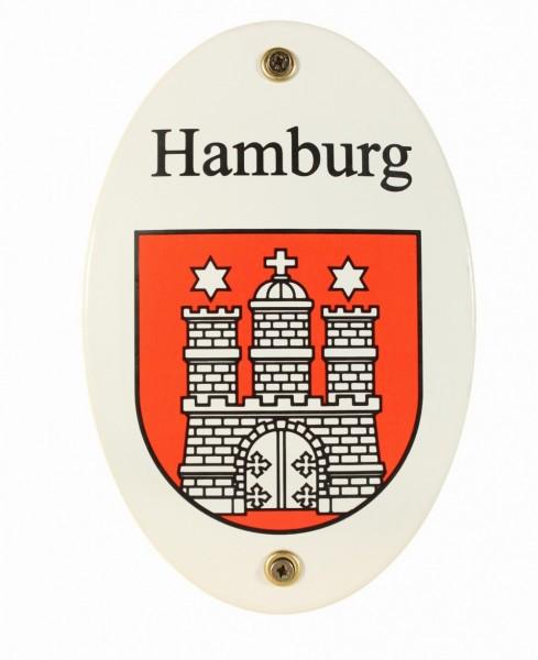 Emaille Wappenschild Hamburg Emailleschild oval