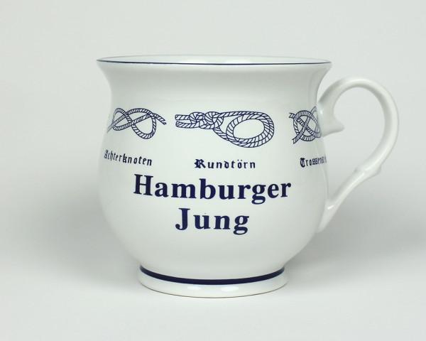 Hamburger Jung mit Seemannsknoten bauchig Kaffeebecher Kaffeetasse Kaffee Pott