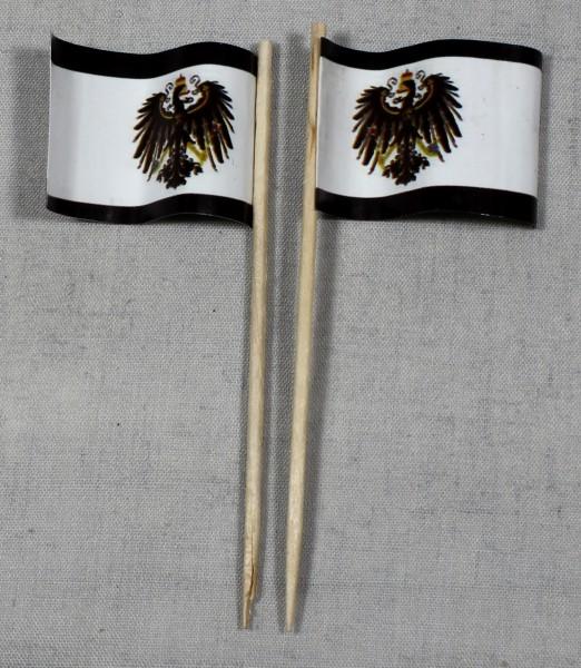 Party-Picker Flagge Preußen mit Adler Papierfähnchen in Spitzenqualität 50 Stück Beutel