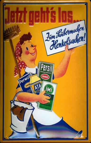 Blechschild Henkelsachen Saubermachen Persil Ata Imi Perwoll Frau mit Besen Werbeschild