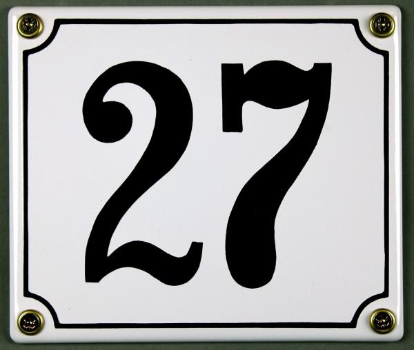 Hausnummernschild 27 weiß 12x14 cm sofort lieferbar Schild Emaille Hausnummer Haus Nummer Zahl Ziffe
