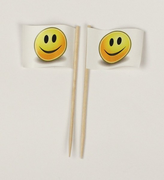 Party-Picker Flagge Smiley weiß Smily Papierfähnchen in Spitzenqualität 50 Stück Beutel