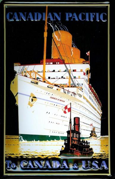 Blechschild Canadian Pacific Dampfer Passagierschiff Canada Schild Nostalgieschild