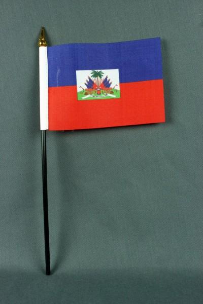 Kleine Tischflagge Haiti 10x15 cm optional mit Tischfähnchenständer