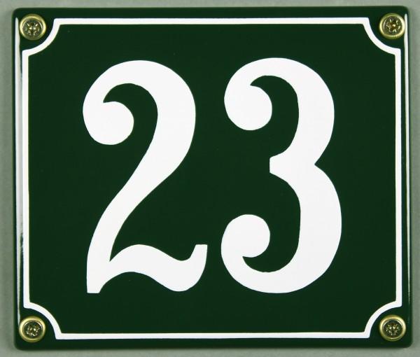 Hausnummernschild 23 grün 12x14 cm sofort lieferbar Schild Emaille Hausnummer Haus Nummer Zahl Ziffe