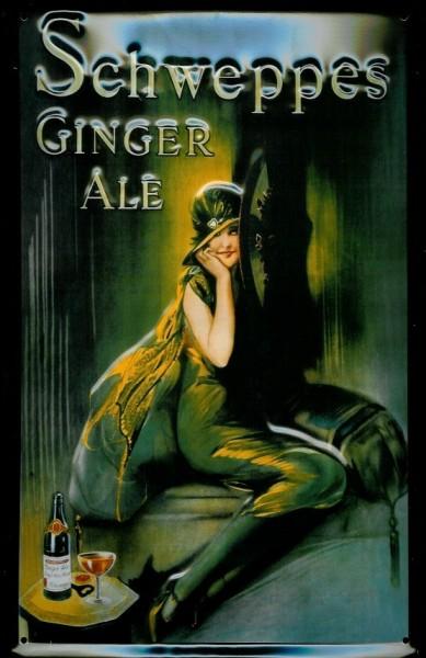 Blechschild Schweppes Ginger Ale nostalgisches Schild Werbeschild