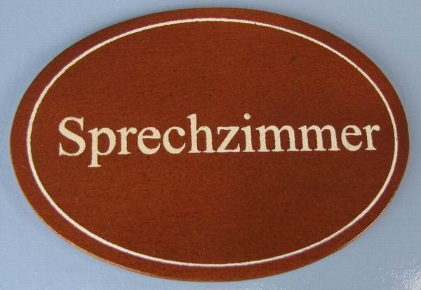 Ovales Holz - Türschild Sprechzimmer 7x10 cm dunkles Holzschild