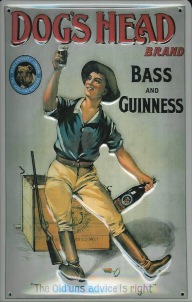 Blechschild Guinness Bier Dog's Head Bass and Guinness Hund nostalgisches Schild
