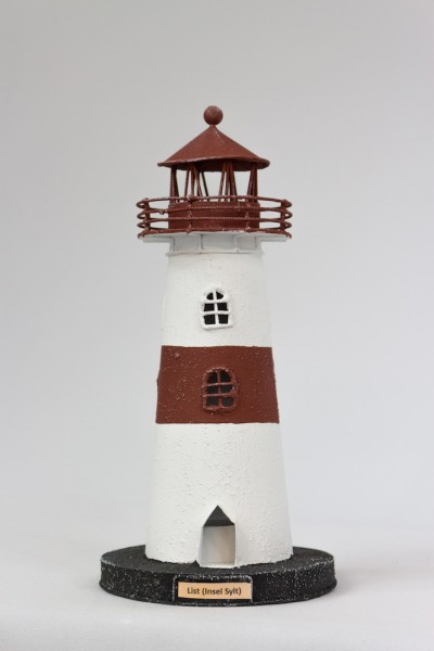 Blechleuchtturm List / Sylt ca. 26 cm Leuchtturm Modell mit Teelichthalter
