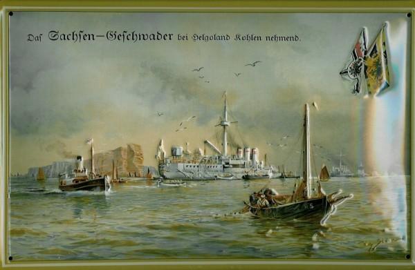 Blechschild Sachsen Kriegsschiff Geschwader vor Helgoland Dampfer Reedereiplakat Schiff Schild Nosta