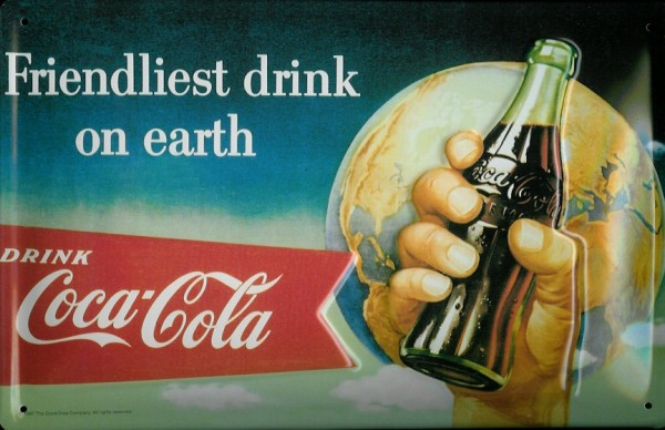 Blechschild Coca Cola friendliest drink on earth retro Schild Coke Werbeschild