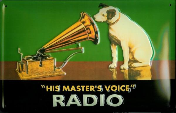 Blechschild Nostalgieschild His Masters Voice Radio Hund Querformat