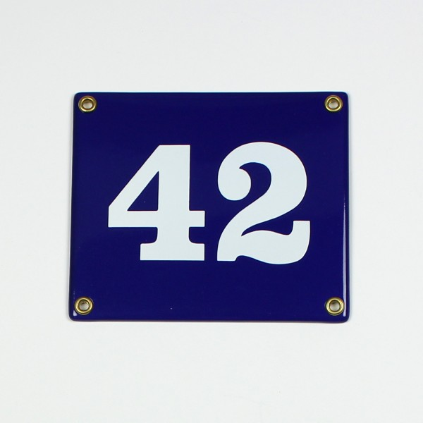 42 blau Clarendon ohne Rahmen 14x12 cm sofort lieferbar 2-stellig Schild Emaille Hausnummer