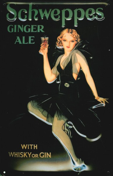 Blechschild Schweppes Ginger Ale Whisky or Gin nostalgisches Kneipenschild retro Schild