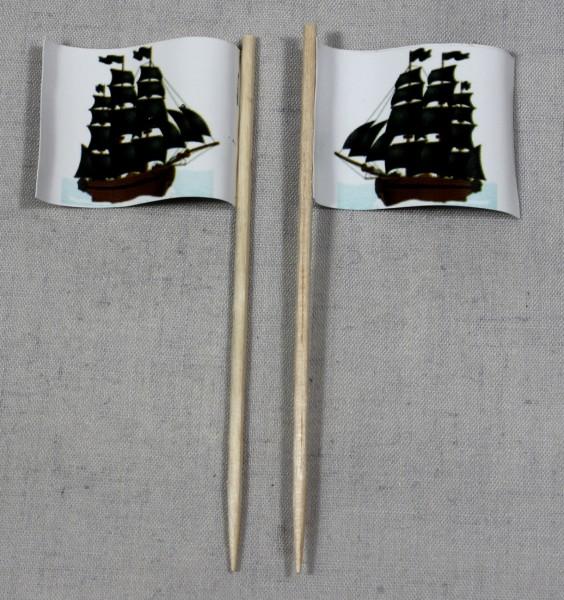 Party-Picker Flagge Pirat (6) Piratenschiff Papierfähnchen in Spitzenqualität 50 Stück Beutel