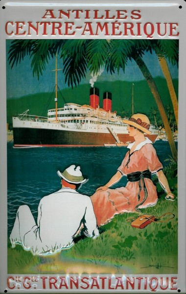 Blechschild Antilles Centre-Amerique Antillen Kreuzfahrt Dampfer Schiff Schild Nostalgieschild