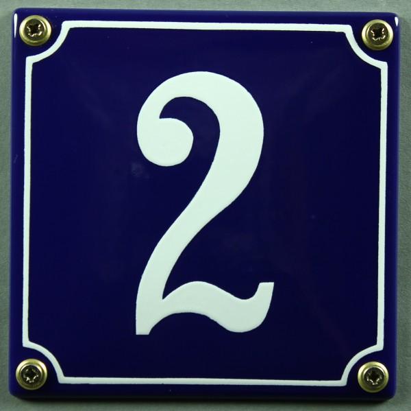 Hausnummernschild 2 blau - weiß 12x12 cm sofort lieferbar Schild Emaille Hausnummer Haus Nummer Zahl
