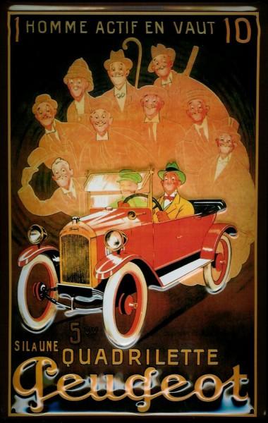 Blechschild Peugeot Quadrilette Oldtimer Auto Schild Nostalgieschild