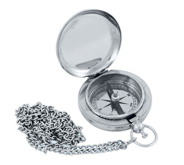 Kompass in Taschenuhrform mit Kette Messing vernickelt
