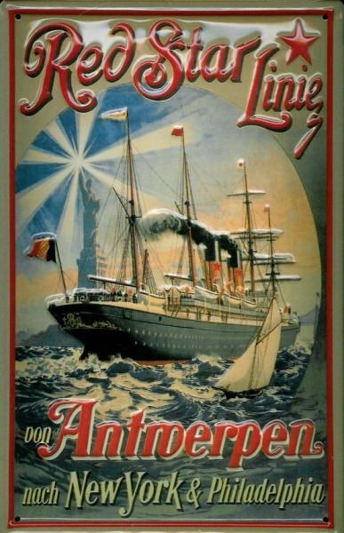 Blechschild Red Star Line von Antwerpen Dampfsegelschiff Dampfsegler Dampfer Reedereiplakat Schiff S