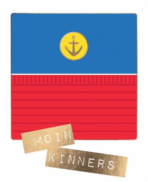 Postkarte Moin Kinners Anker Goldfolie