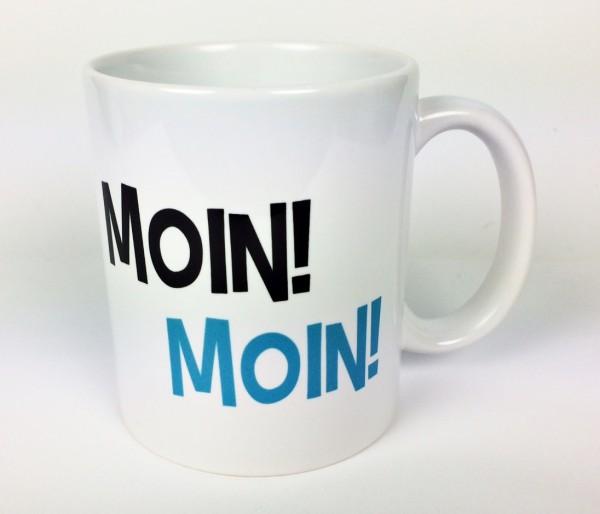 MOIN! MOIN! Becher schwarz hellblau Kaffeebecher Kaffeepott Tasse Anker