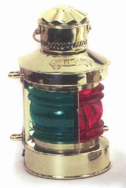 Schiffslampe Messing Zweifarbenleuchte Positionslampe 36 cm Höhe schwere Ausführung 220 Volt