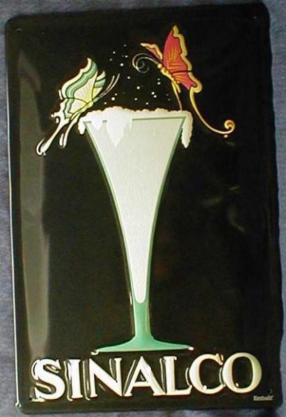Blechschild Sinalco Glas Schmetterling Limonade retro Schild Werbeschild
