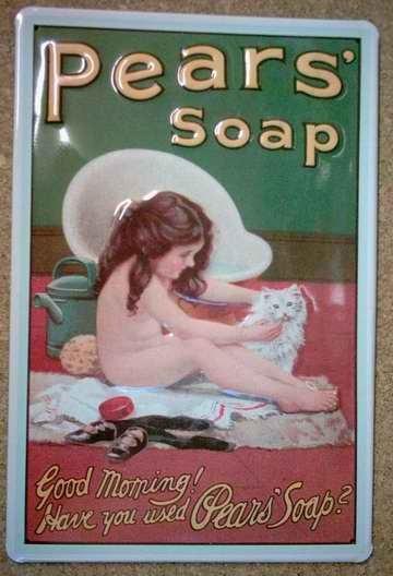 Blechschild Pears Soap Good Morning Seife Schild retro Werbeschild Nostalgieschild