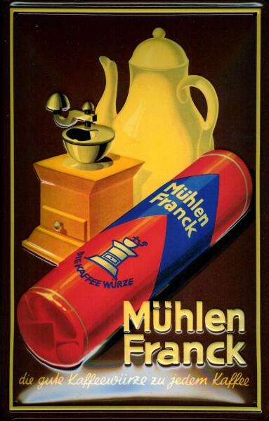 Blechschild Mühlen Franck Kaffeemühle Kaffeewürze Schild Nostalgieschild