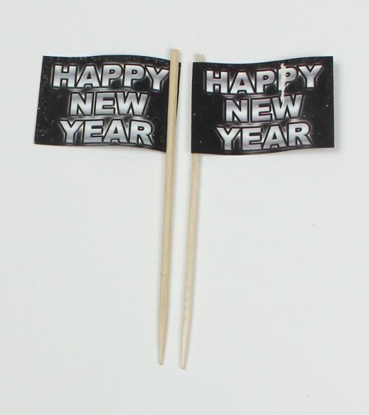 Party-Picker Flagge Happy New Year Silvester Frohes neues Jahr Papierfähnchen in Spitzenqualität 50