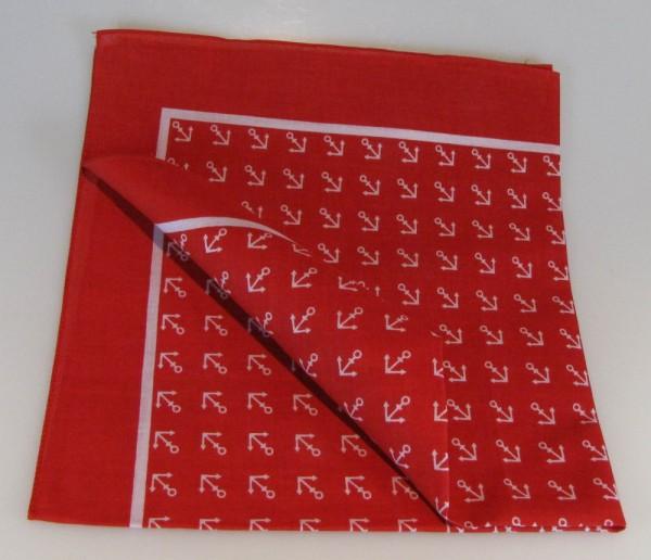 Vierecktuch Anker 54x54 cm Halstuch rot mit Mengenrabatt