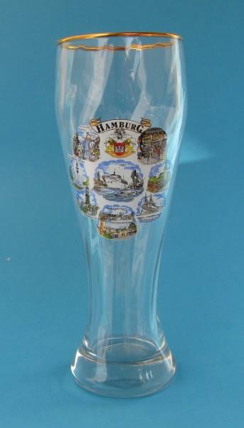 Weizenbierglas 8 Hamburg Bilder klares Glas Souvenir