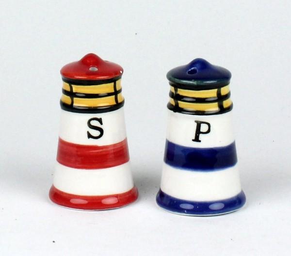Salz -/ Pfefferstreuer Maritim Leuchtturm Salzstreuer 2-teilig blau und rot 6 cm