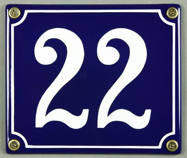 Hausnummernschild Emaille 22 blau - weiß 12x14 cm sofort lieferbar Schild Emaile Hausnummer Haus Num